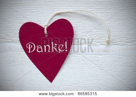 Red Heart Label With German Text Danke Means Thank You
