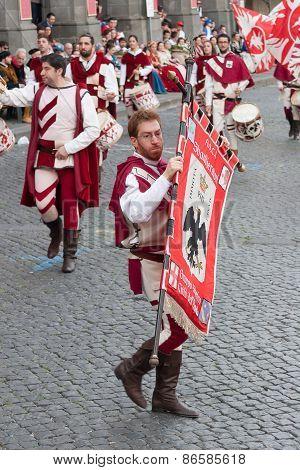 Acquapendente, ITALY - MAY 18 2014, Festa dei Pugnaloni Festival in the City Center