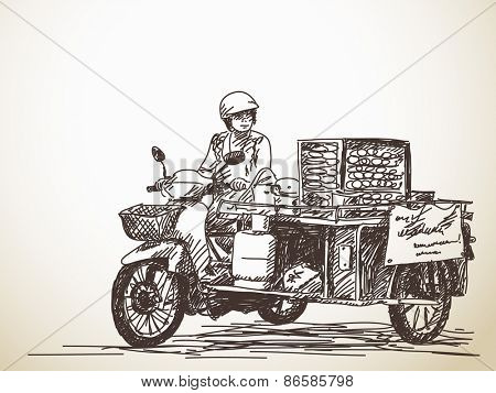 Asian street food on motorbike, Hand drawn vector sketch