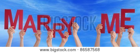 People Hands Holding Red Word Marry Me Blue Sky