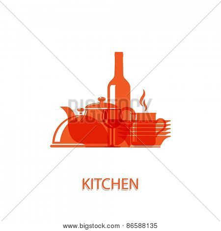 Vector illustration of symbolic images on the theme of the kitchen