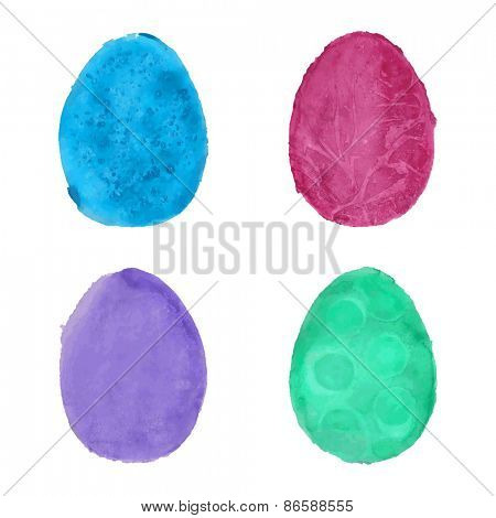 Vector illustration of eggs painted in watercolor