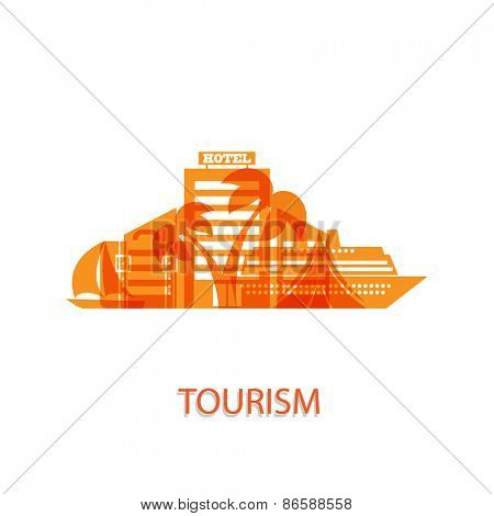 Vector illustration on the theme of tourism