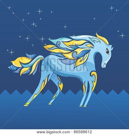 Blue Night Horse Illustration