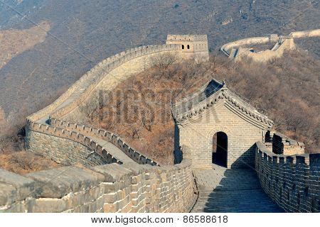 Great Wall with clear blue sky in winter in Beijing, China