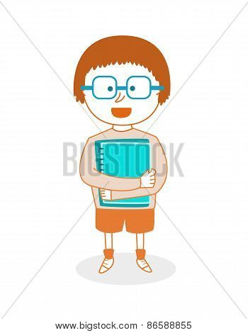 School Boy With Notebooks, Vector Illustration