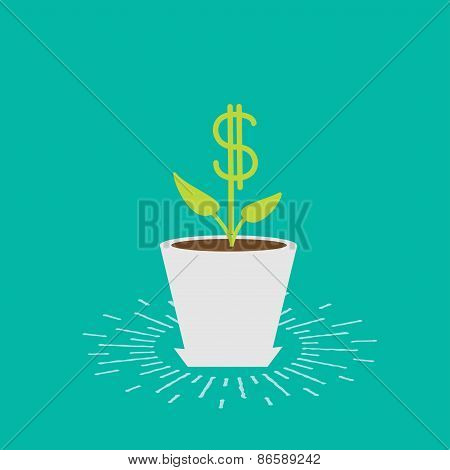 Dollar Plant In The Pot And Watering Can. Shining Effect. Financial Growth Concept. Flat Design