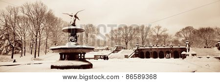 Central Park winter panorama view in midtown Manhattan New York City