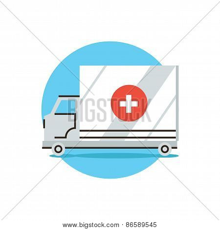 Ambulance Car Flat Line Icon Concept