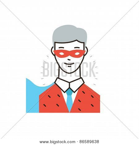 Businessman Superhero Flat Line Icon Concept
