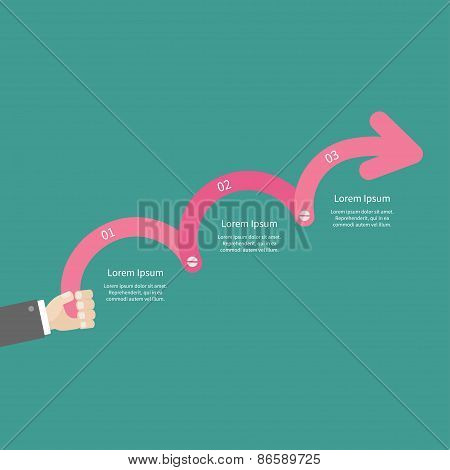 Businessman Hand Holding Three Step Pink Upwards Arrow With Screw Timeline Infographic And Text. Tem