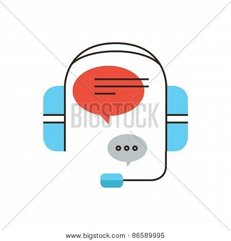 Assistance Call Service Flat Line Icon Concept