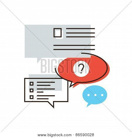 Faq Information Flat Line Icon Concept