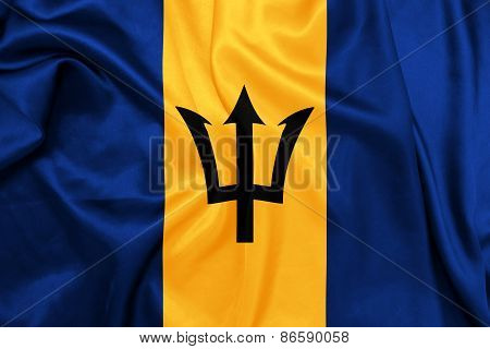 Barbados - Waving national flag on silk texture