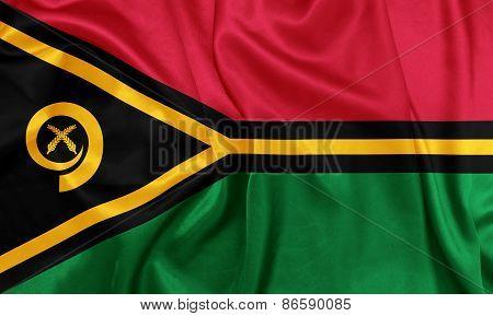 Vanuatu - Waving national flag on silk texture