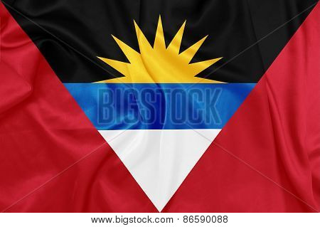 Antigua and Barbuda - Waving national flag on silk texture