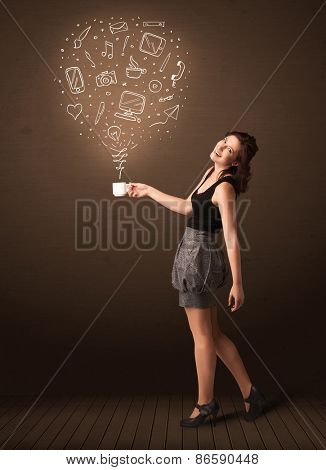 Businesswoman standing and holding a white cup with drown social media icons coming out of the cup