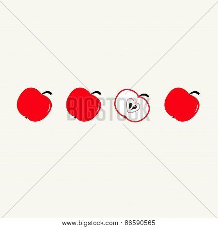 Red Apple Set In A Row. Whole And Half With Heart Seed. Healthy Lifestyle Background. Flat Design.