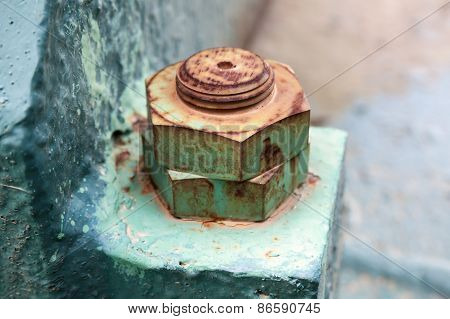 Macro Photo Of Old Rusted Nuts And Bolt