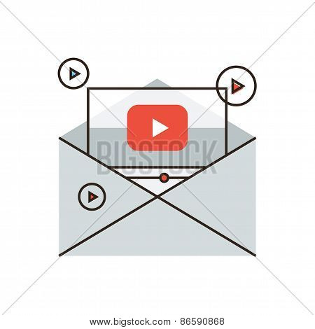 Viral Media Marketing Flat Line Icon Concept