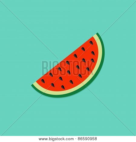 Big Watermelon Slice Cut With Seed Flat Design Icon Summer Blue Background