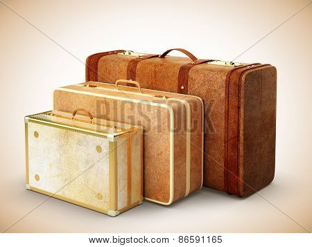Three Browh Leather Suitcase