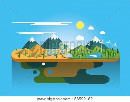 Mountain landscape Eco flat illustration  Vector eps10.