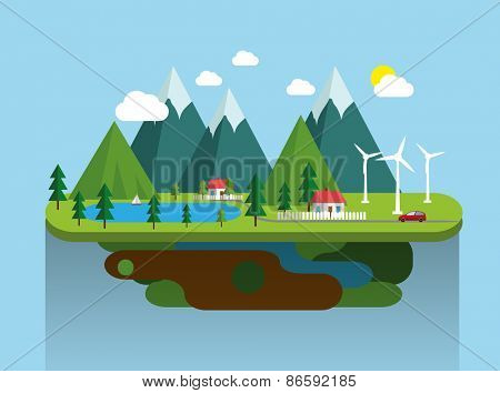 Mountain landscape eco village  flat illustration. Vector eps10.