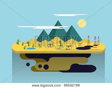 Oil production in the desert. Flat Vector Illustration
