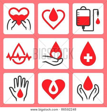 Blood Donation Related Vector Icon Set