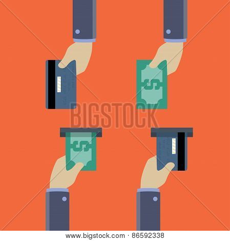 Hands With Cash And Credit Cards, Give And Take, Flat Style