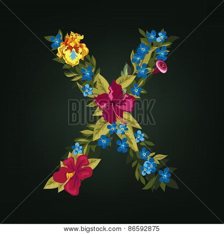 X letter. Flower capital alphabet. Colorful font. Uppercase.