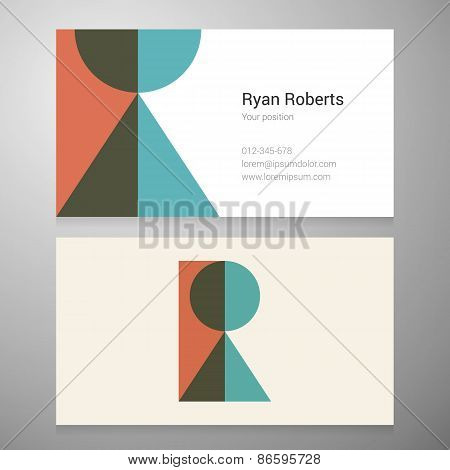 Vintage Letter R Icon Business Card Template