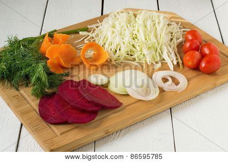 Chopped Vegetables On A Board