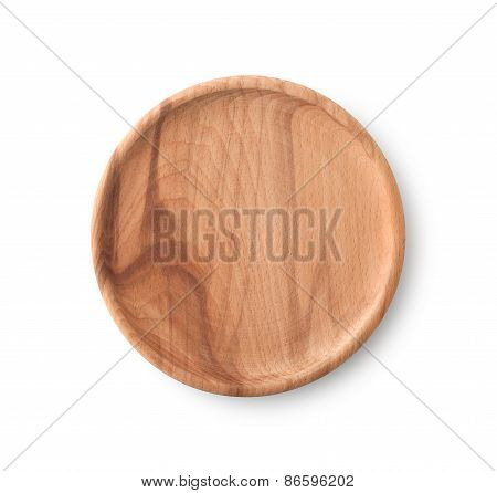 Empty Brown Wooden Plate , Clipping Path