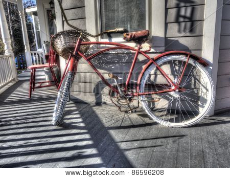 vintage bicycle on porch