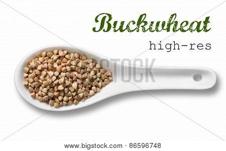 Buckwheat Groats In White Porcelain Spoon