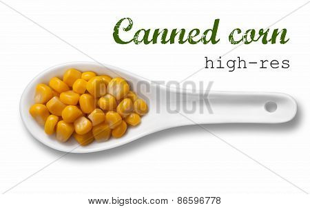 Canned Corn In White Porcelain Spoon / High Resolution Product Photography Of Seed In White Porcelai