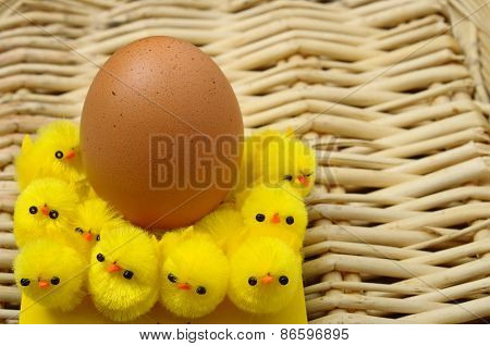 Easter Egg And Yellow Chicks