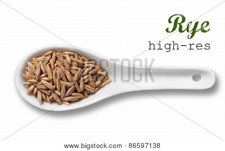 Rye In White Porcelain Spoon / High Resolution Product Photography Of Seed In White Porcelain Spoon