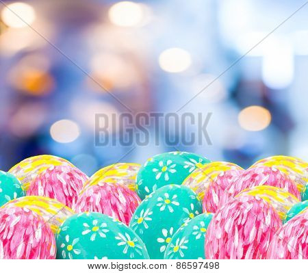 Image Of Blurred Bokeh Light And Easter Eggs  For Background Usage