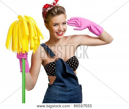 Beautiful Cleaninig Lady Wearing Pink Rubber Protective Gloves Holding Cleaning Mop / Young Beautifu