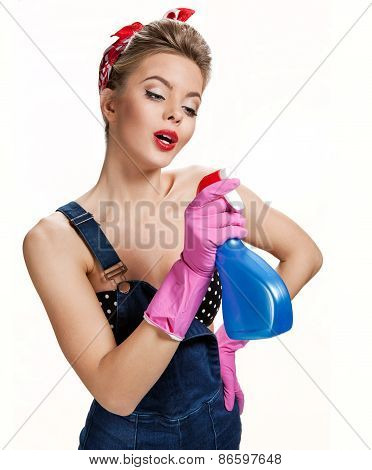 Beautiful Cleaning Girl Wearing Pink Rubber Protective Gloves Holding Spray / Young Beautiful Americ