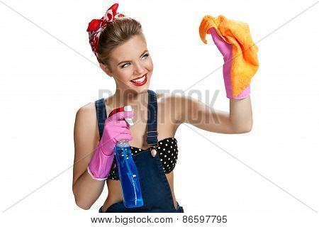 Beautiful Worker Wearing Pink Rubber Protective Gloves Holding Cleaning Spray Bottle And Orange Micr