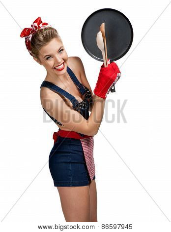 Appealing Maid Wearing Apron With Kitchen Utensils / Young Beautiful American Pin-up Girl Isolated O