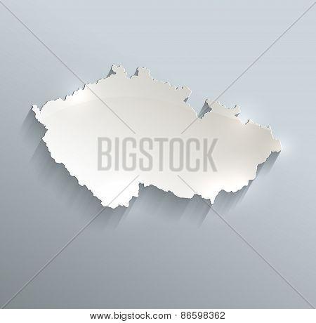 Czech map blue white card paper 3D vector infographics raster