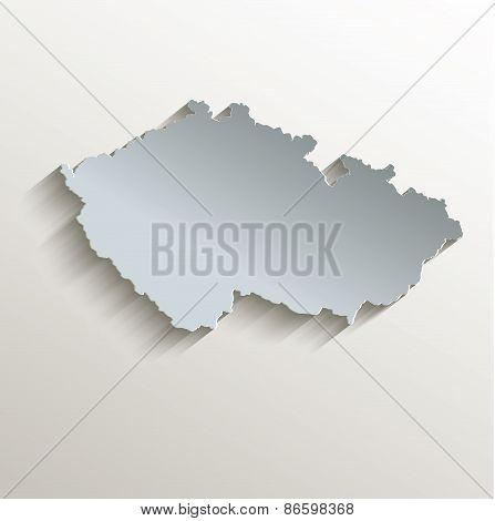 Czech map white blue card paper 3D raster