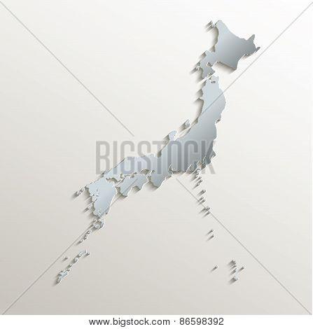 Japan map white blue card paper 3D raster