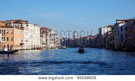 Motorboat Is Sailing On Grand Canal In Venice, Italy