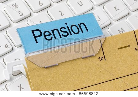 A Brown File Folder Labeled With Pension